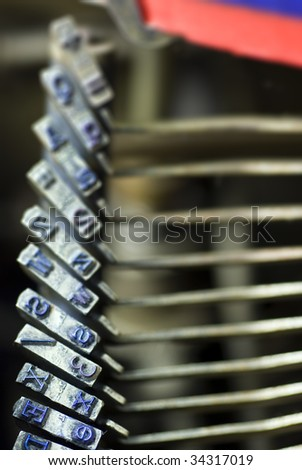 detail of vintage, mechanical typewriter; differential focus - stock photo