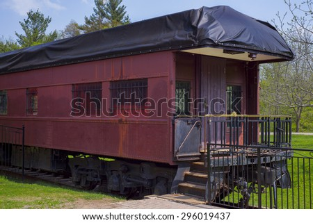 Detail of vintage train wagon on old railroad station. Taken at sulphur springs, Ontario, Canada - stock photo
