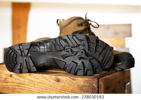 detail of walking boots  - stock photo