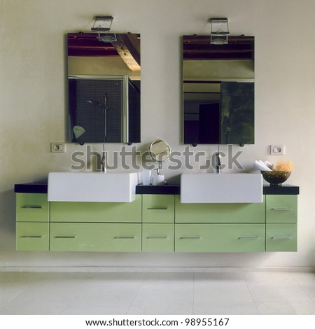 detail of washbasin in a modern bathroom - stock photo