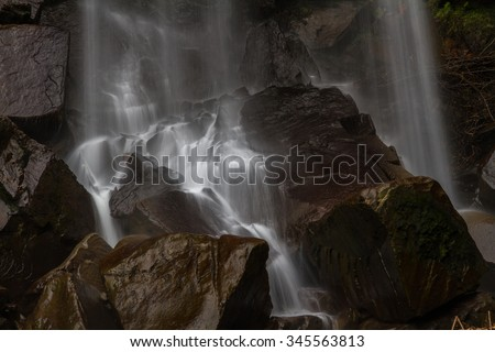 Detail of water cascading onto rocks at the bottom of a waterfall. - stock photo