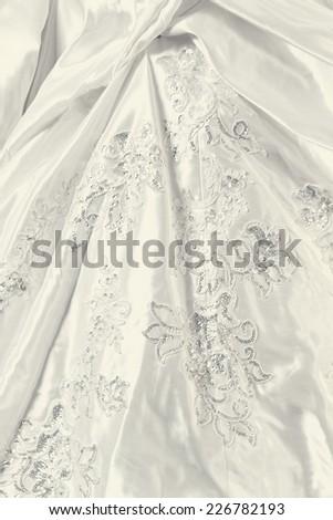 Detail of wedding dress - close-up photo - stock photo