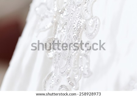Detail of wedding dress - close-up photo - stock photo