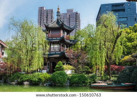 detail of Wen Miao confucian confucius temple in shanghai china popular republic - stock photo