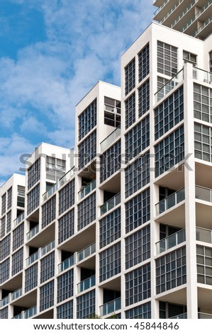 Detail of windows in high-rise building in Miami. Real Estate picture. - stock photo