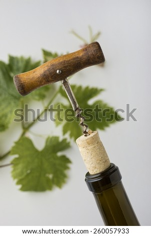 Detail of wine corkscrew pulling cork with wine vines in the background - stock photo
