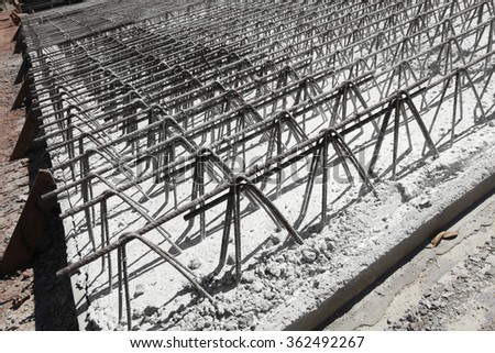 detail of wire of steel rebar to road construction - stock photo