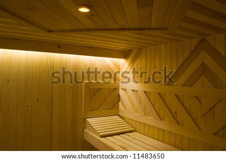 Detail of wooden Finnish sauna with textures. - stock photo