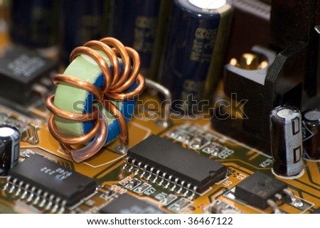 Detail on an electronic system - stock photo