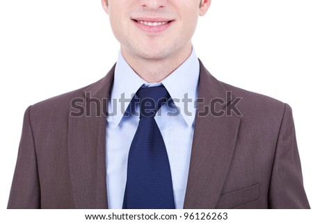 detail picture of a young business man in a suit over white background - stock photo