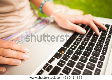 Detail shot of a woman using laptop at the lawn - stock photo