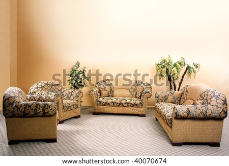 detail shot of fabric sofa in living room - stock photo