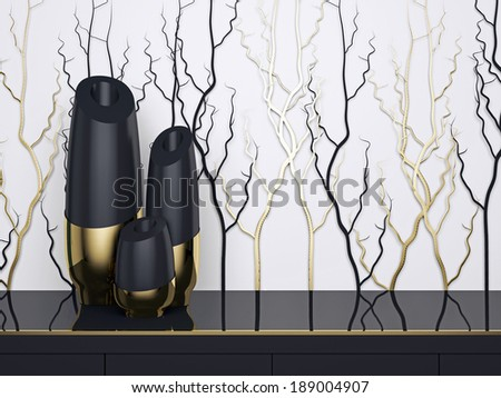 Detail shot of modern interior design. Luxury vases on the buffet. - stock photo