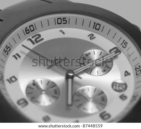 detail studio photography of a wristwatch clockface - stock photo
