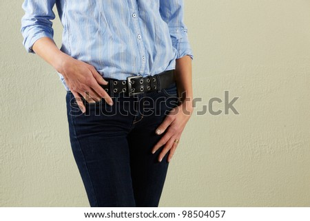 Detail Studio Shot Of Relaxed Middle Aged Woman - stock photo