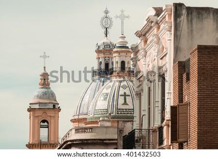 Detail take of Cordobas landmark religious architecture, Argentina - stock photo