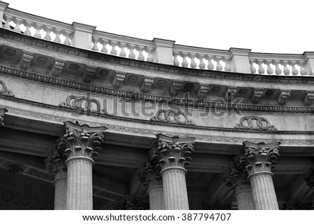 Detail the colonnade of the Kazan Cathedral in St.Petersburg, Russia. Black and white. - stock photo