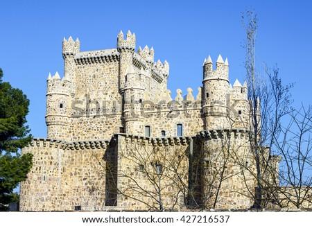 Detail tower of Guadamur castle, Toledo, Castilla la Mancha, Spain - stock photo