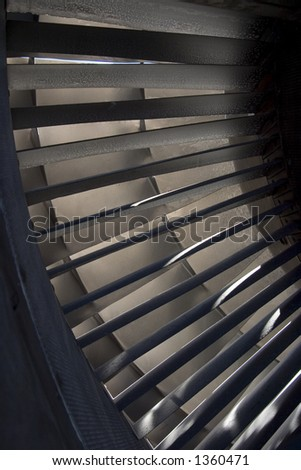 Detail view of a 747 jets turbo-fan engine intake. - stock photo