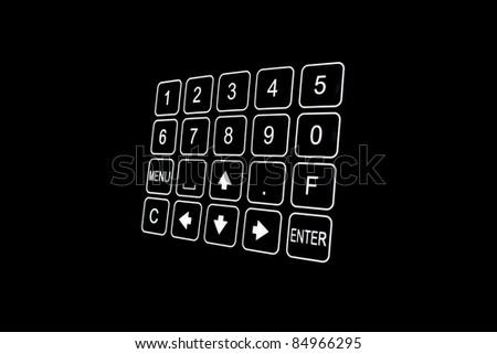 Detail view of black security door keypad taken in a office - stock photo
