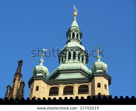 Detail view of copper roof of Prague cathedral tower - stock photo