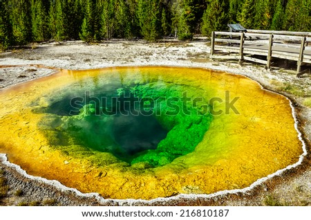 Detail view of geothermal pool Morning glory in Yellowstone NP, Wyoming, USA - stock photo