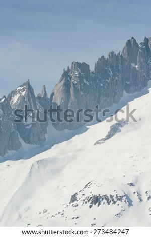 Detail view of mountain ridge at Gross Fussorn. View from Bettmerhorn, part of the Jungfrau-Aletsch UNESCO World Heritage, Wallis, Switzerland. - stock photo