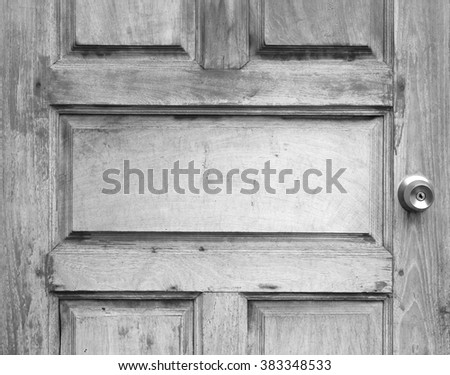 Detail vintage wooden door, black and white - stock photo