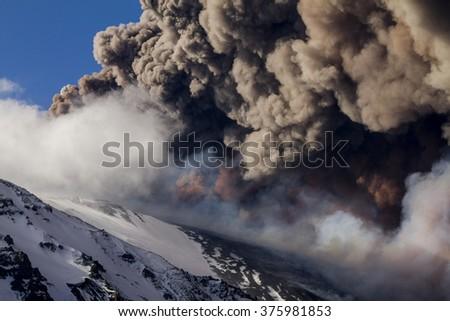 Detail volcanic plume ash - stock photo