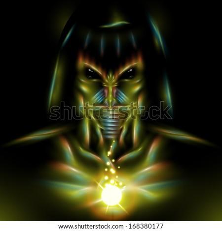 Detailed alien assassin character design illustration - stock photo
