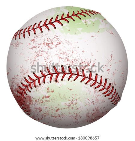 Detailed baseball with scuff and grass marks on it. - stock photo