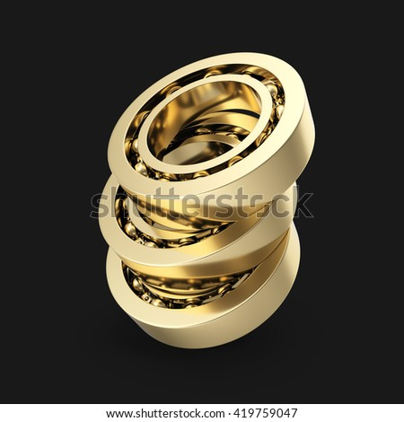 Detailed bearings group production at an angle isolated on black background. 3d illustration - stock photo