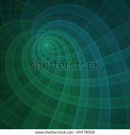Detailed blue and green abstract heart / ripple design on black background - stock photo