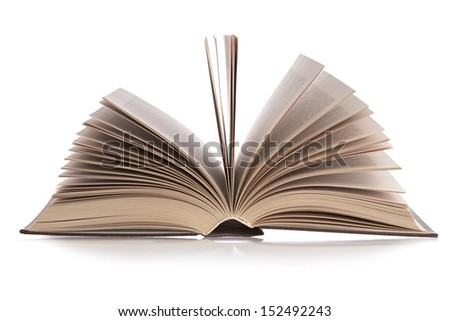 detailed book on a white background, isolated - stock photo