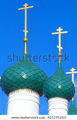 detailed bright Golden domes of Orthodox churches in the sunlight   - stock photo