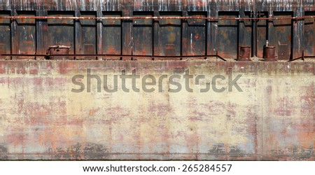 Detailed closeup old rusted barge hull background photo texture - stock photo