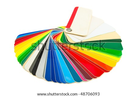detailed color catalog samples adhesive film on a white background - stock photo