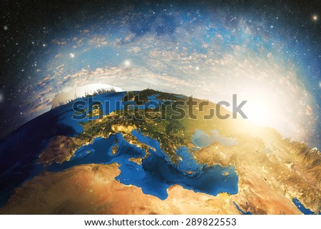 Detailed colorful Earth highly detailed planet earth in the morning Elements of this image furnished by NASA - stock photo