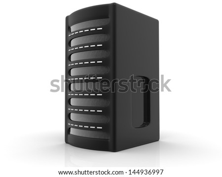 Detailed computer server isolated on white background - stock photo