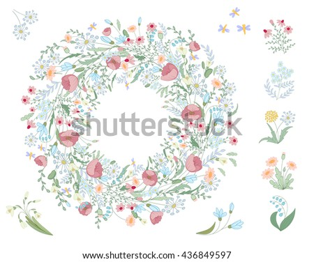 Detailed contour wreath with herbs, leaves and wild spring flowers isolated on white. Round frame for your design, greeting cards, wedding announcements, posters. Cute wedding background. - stock photo
