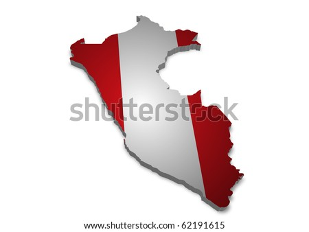 detailed 3d map of peru with flag - stock photo