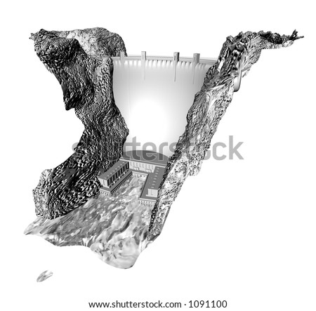 Detailed 3d render of a dam in the style of hoover dam, modelled by me. - stock photo