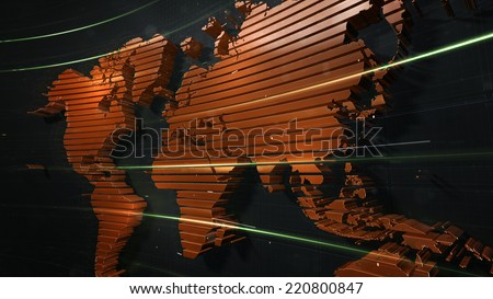detailed 3d rendered orange world map on the dark background - stock photo