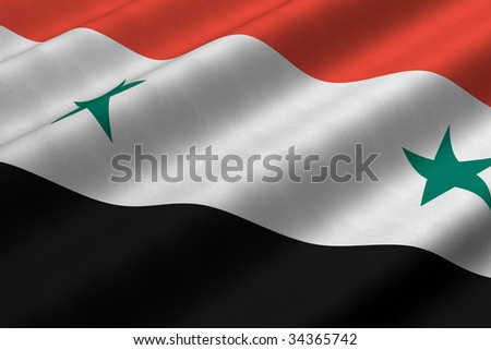 Detailed 3d rendering closeup of the flag of Syria.  Flag has a detailed realistic fabric texture. - stock photo