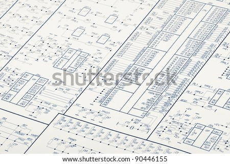 Detailed drawing of electrical circuits - stock photo