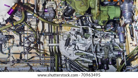 Detailed exposure of a turbine jet engine. - stock photo