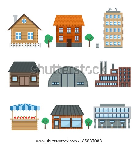 Detailed houses and building icons set isolated on white illustration - stock photo