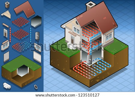 Detailed illustration of a geothermal heat pump under floor heating diagram - stock photo