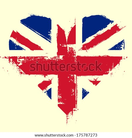 detailed illustration of a grungy heart with the Union Jack - stock photo