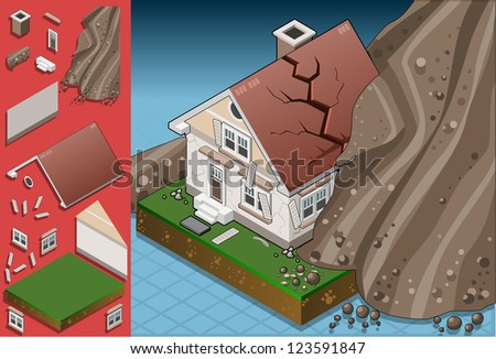 Detailed illustration of a house hit by landslide - stock photo